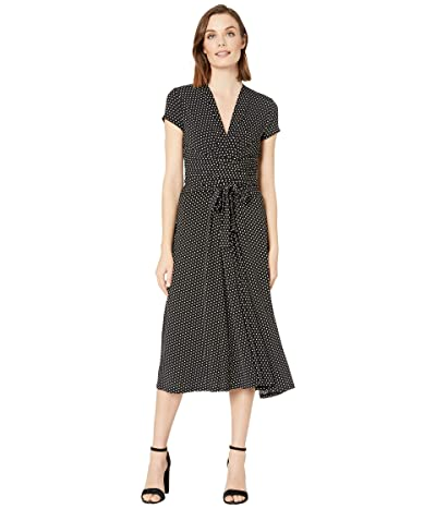 MICHAEL Michael Kors Dot Midi Wrap Dress (Black/White) Women