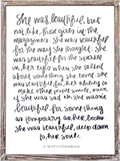 She was Beautiful F. Scott Fitzgerald Quote Wood Sign   Motivational Office Decor Wall Art Rustic Home Decor Wooden Farmhouse Inspirational Gift for Her