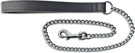 BBD Pet Products Leather Chain Lead, One Size, Medium, 30 x 5/8 -Inch, Grey