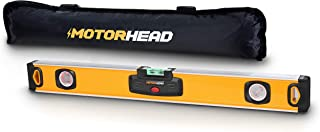 MOTORHEAD 24-Inch 0°, 45° & 90° Degree LED Torpedo Level, Water, Dust & Shock Resistant, Magnetic Bottom, Includes Bag, High-Visibility, Solid Milled Aluminum, USA-Based Support