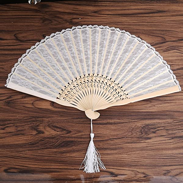 NUOMI Lace Folding Fan Handheld For Women Handmade Bamboo Folded Fans Decorative Party Favor Gift