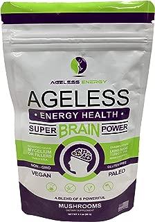 Super Brain Power Mushroom Powder by Ageless Energy - 6 Amazing Mushroom Extract PowderOrganic-Lions Mane, Reishi, Cordyceps, Chaga, Turkey Tail, Maitake-60g-Supplement-Add to Coffee/Shakes/Food