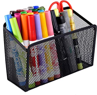 Magnetic Pencil Holder Storage Basket with 2 Generous Compartments Organizer with Extra Strong Magnets Perfect for Whiteboard, Refrigerator