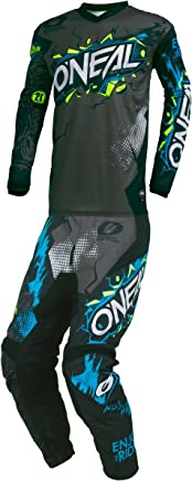 ONeal 2019 Element Villain MX Riding Gear Combo Set Youth NEON Yellow Y-XLarge//Y-28W Motocross Off-Road Dirt Bike Jersey /& Pant