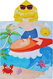 Kids Beach Towel,100% Cotton Water Absorption Hooded Bath Changing Robe Poncho for 2 to 6 Years Boy Bathing Swimming Sand Proof