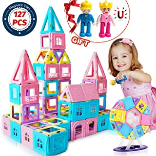 HOMOFY 127PCS Castle Magnetic Building Blocks Tiles with Play Magnet Figures for Kids Toddlers-Learning & Early Development Toys for 3 4 5 6 7 Year Old Girls Boys Gifts