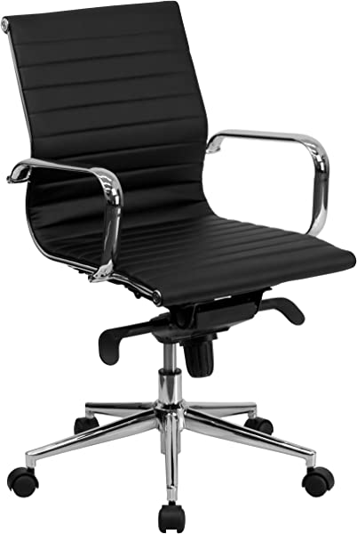 Flash Furniture Mid Back Black Ribbed Leather Swivel Conference Chair With Knee Tilt Control And Arms