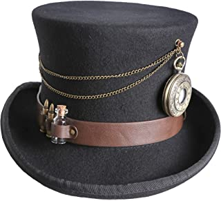 Arsimus 100% Wool Steampunk Top Hat with Brown PU Leather Band and Pocket Watch