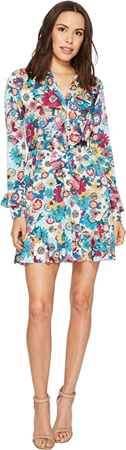 Laundry by Shelli Segal Floral Print Godet Dress with Ruffle Details