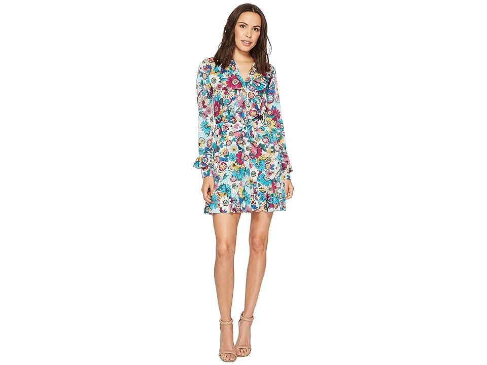 Laundry by Shelli Segal Floral Print Godet Dress with Ruffle Details (Enamel Blue) Women