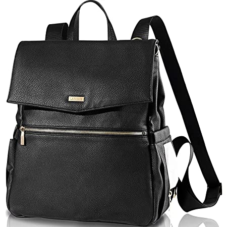 Landici Leather Diaper Bag Backpack for Mom,Waterproof Multifunction Travel Back Pack Changing Bag with Ipad Compartment,Stroller Strap,Fashion Women Lady Purse Bag,Black