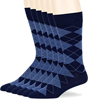 Men Dress Argyle Cotton Socks - 6 Pack Dark Navy Large - Casual Seamless Size 10-13 Dark Blue