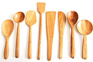 Tora (100% ECO Friendly Product) Neem Wooden Spatulas Ladles for Cooking & Serving Brown, Neem Wood – Set of 8 Best for Ki...