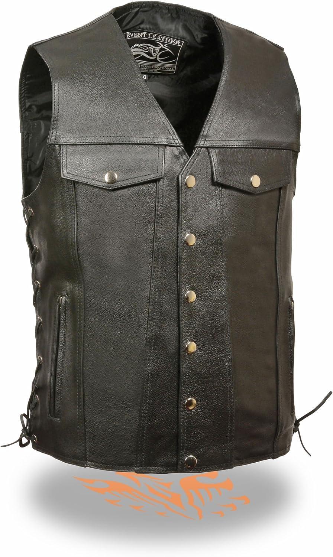 Milwaukee Leather Men's Side Lace Leather Vest w/ Denim Style Pockets (Black, 5X)