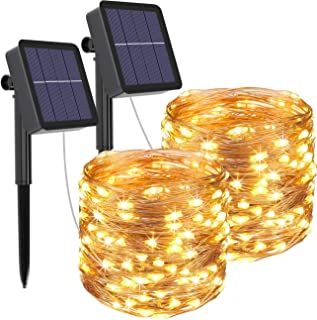 kolpop Solar String Lights 2Pack 240LED Total Solar Powered Fairy Lights Outdoor 8 Modes Copper Wire Decoration Christmas ...