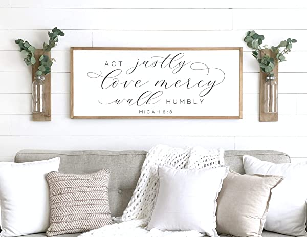 Framed Wooden Sign Bible Verse Sign Act Justly Love Mercy Sign Micah 6 8 Scripture Wood Sign Bible Verse Wood Sign Scripture Sign Wall Decor 6 X 20 Framed Wood Sign