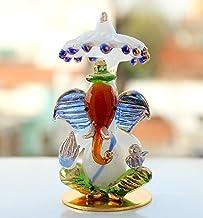 ESPLANADE Glass Ganpati Murti Idol Statue Sculpture (Multi Color, Standard)