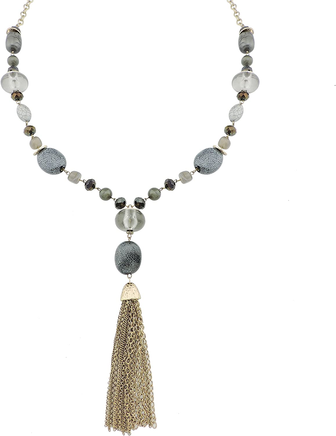 Coiris Long Statement Beaded Antique Gold Chain Sweater Necklace with Tassels Pendant for Women (N0015)