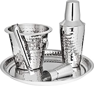 Godinger Barware Bar Tools Stainless Steel set, Includes Cocktail Shaker for Drink Mixing, Double Jigger, Ice Bucket, Tong...