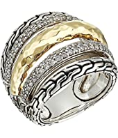 John Hardy - Classic Chain Hammered Diamond Pave Ring