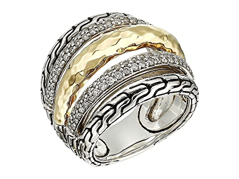 John Hardy Classic Chain Hammered Diamond Pave Ring