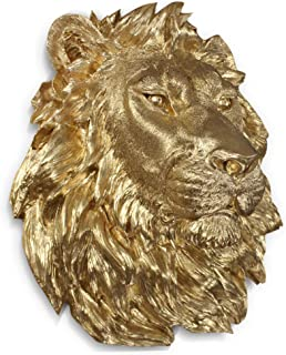 Wall Charmers Large Gold Faux Lion Head Wall Hanging - 17