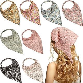 8 Pieces Floral Elastic Hair Scarf Headband Chiffon Head Kerchief Floral Printed Vintage Hair Scarf Hair Bandanas for Girl...