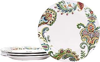 Bico Protea Cynaroides Ceramic 27.6 cm Dinner Plates, Set of 4, for Pasta, Salad, Maincourse, Microwave & Dishwasher Safe