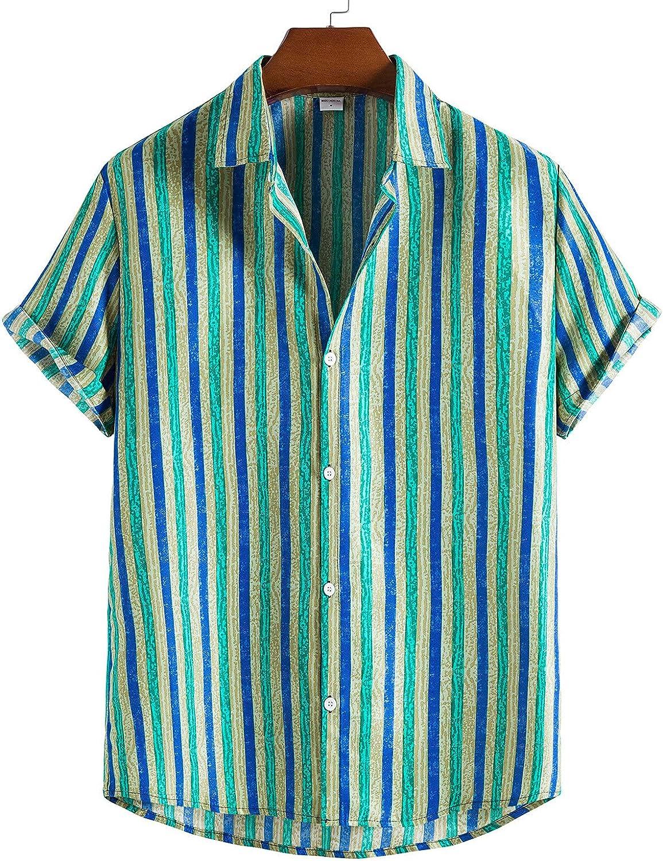Summer Stripe Shirts for Men Casual Button Down Short Sleeve Workwear Shirts