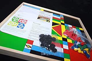 Benjamin Products Jamaican Ludo (Standard Theme) + Checkers (Ludi)   2ft x 2ft Double Sided Game Board + Game Pieces & Dice   Family Game Night