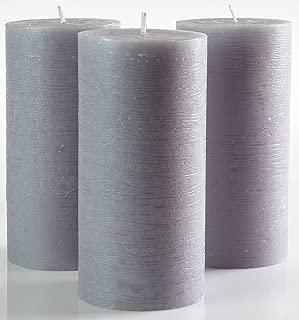 Grey Pillar Candles Set of 3 3