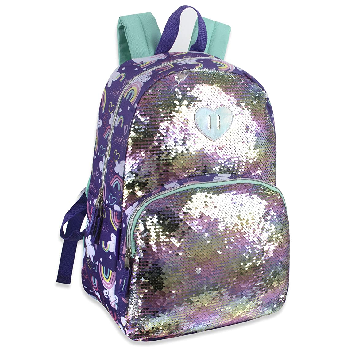 Madison & Dakota Reversible Glitter Sequin Backpacks for Girls and Women, with Padded Back and Adjustable Straps (Clouds)