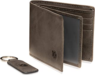 Genuine Leather Bifold Wallets For Men Front Pocket Slim Mens Wallet 2 ID Window