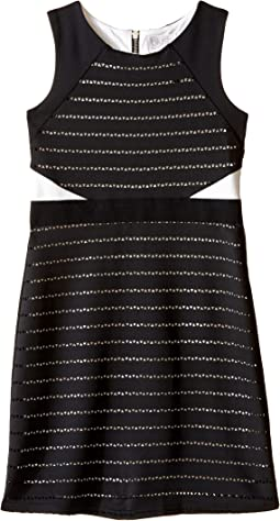 Sleeveless Scuba Laser Cut Color Block Sheath Dress (Big Kids)