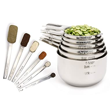 Simply Gourmet Measuring Cups and Measuring Spoons Set. Includes 12 Stainless Steel Measuring Cups and Spoons. Liquid Measuring Cup or Dry Measuring Cup Set. Stainless Measuring Cups, Nesting Cups