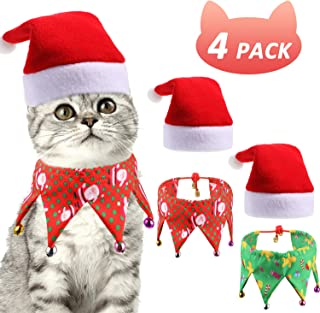 SATINIOR Christmas Cat Costume Cat Collar with Bells Pet Santa Hat Pet Holiday Accessories for Christmas Pet Cosplay Party, Total 4 Pieces