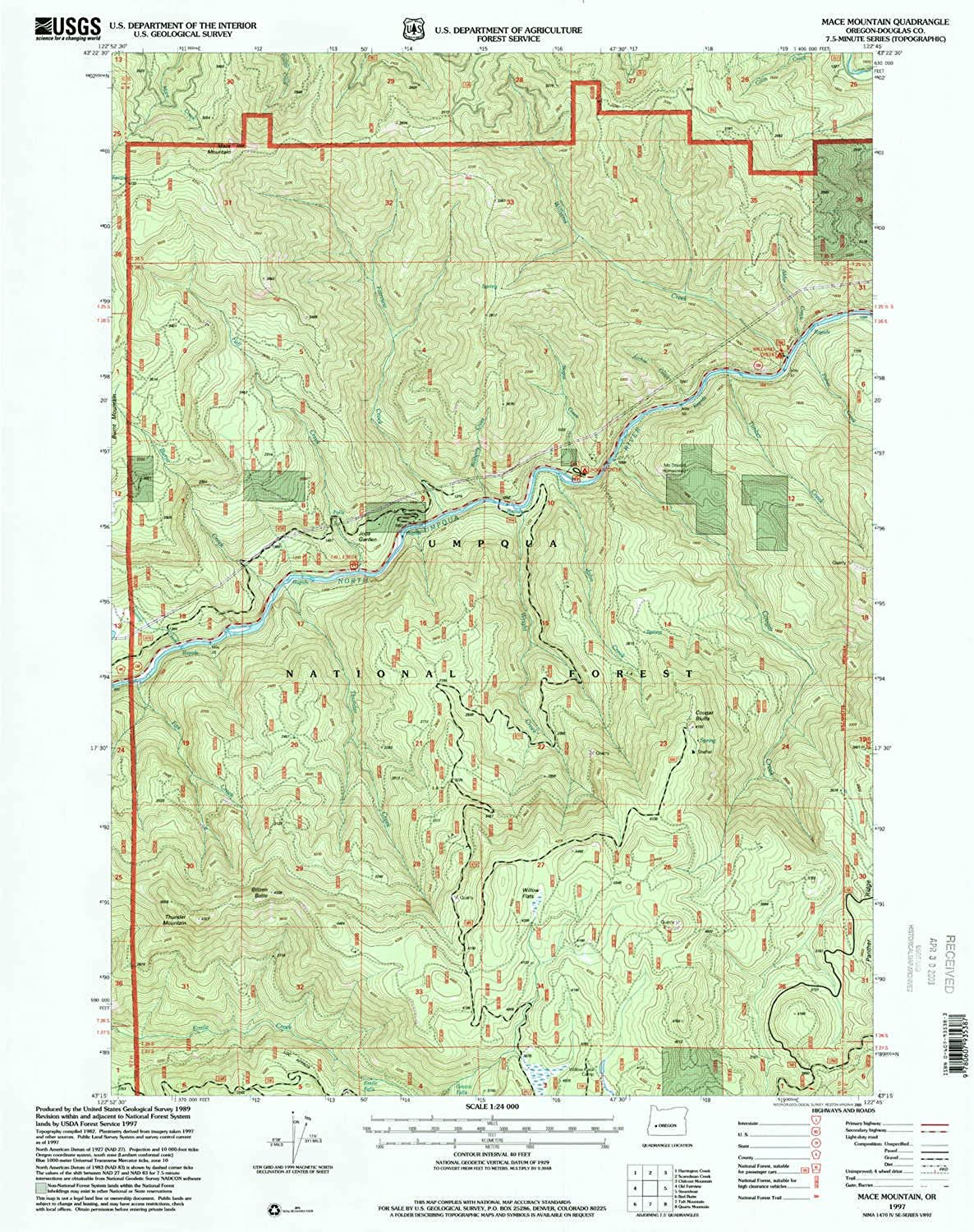 Mace Mountain OR topo map, 1 24000 Scale, 7.5 X 7.5 Minute, Historical, 1997, Updated 2000, 26.8 x 21.5 in