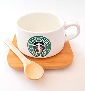 Attractive Limited Edition Starbucks Coffee Mug Set With Golden Spoon and wood coster, 250 ml