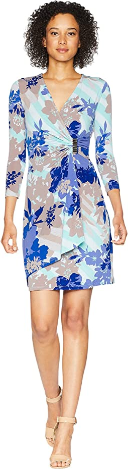 Printed Faux Wrap Dress CD8AH995