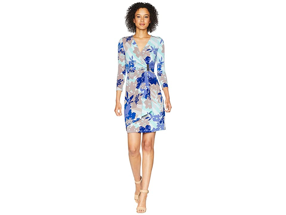 Calvin Klein Printed Faux Wrap Dress CD8AH995 (Seaglass Multi) Women