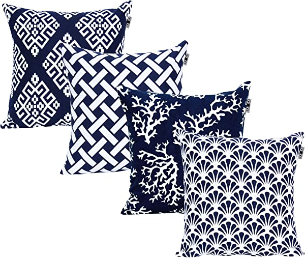 ANA Home D COR Square Printed Cotton Cushion Cover Throw Pillow Case Slipover Pillowslip For Home Sofa Couch Chair Back Seat 4pc Pack 18x18 In Navy Color