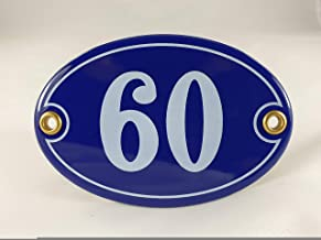 Emaille huisnummer bord nr. 60, ovaal, blauw-wit Nr. 60 Blau-Weiß + Schrauben und Dübel