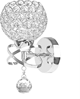 LTXDJ Lámparas de pared de cristal modernas, apliques de luz de pared de cristal, lámpara de pared para dormitorio con colgante de cristal y enchufe E14 (plateado)