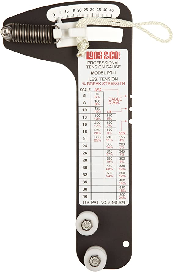 Sailboat Rigging Tension Gauge from Loos & Co., PT-1 Professional Hands-Free Force Gauge for Tensioning and Tuning of Shrouds, Cable Rigs, Wire Rope Standing Rigging, and Forestays, for 3/32, 1/8, and 5/32 inch Cable Diameter
