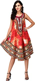 Nakoda Creation Women's Knee Length Dress (Umbrella Dress_41_Multicolor)