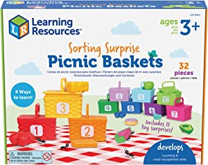 Learning Resources Sorting Surprise Picnic Baskets, Toddler Sorting & Matching Skills Toy, Fine Motor Skills, Preschool Educational Toys, 32 Pieces, Ages 3+