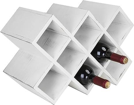 Amazon Com Mygift Vintage White Wood 8 Bottle Countertop Wine Rack Home Kitchen
