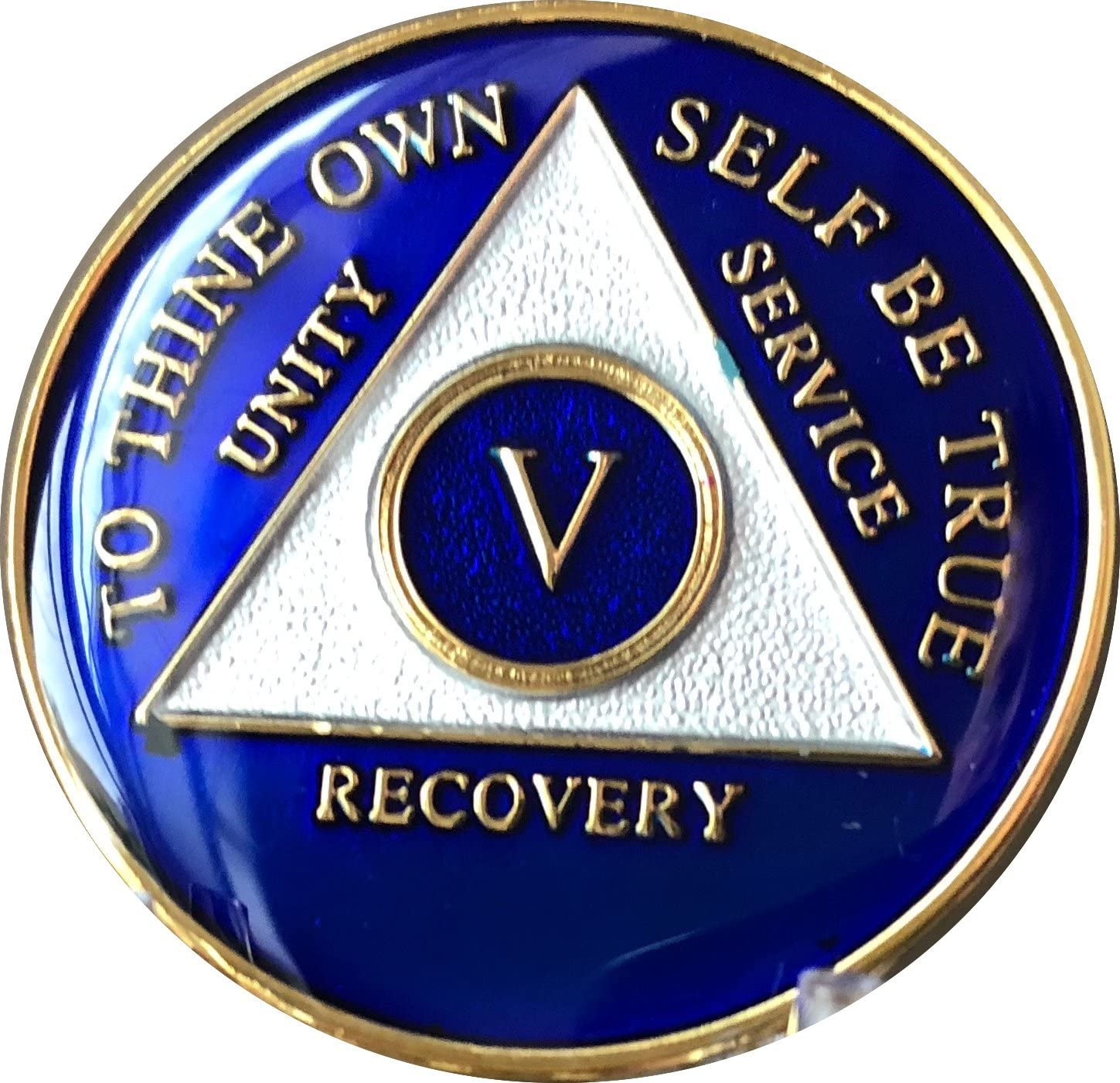 Recovery Mint 5 Year Blue Tri-Plate Alcoholics Anonymous Medalli