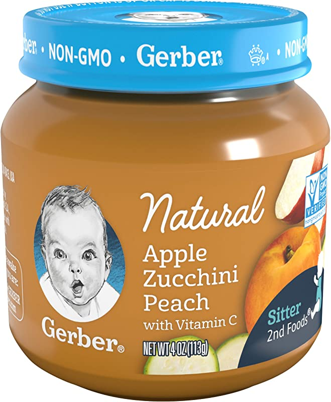 Gerber 2nd Foods Baby Food Jars Natural Apple Zucchini Peach 4 Ounce Pack 12