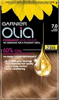 Garnier Olia Dark Blonde Permanent Hair Dye, Up to 100% Grey Hair Coverage, NO Ammonia, 60% Oils - 7.0 Dark Blonde